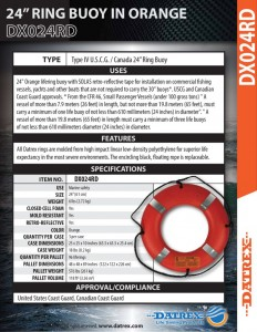 thumbnail of Datrex DX024RD 24 ring buoy orange RT