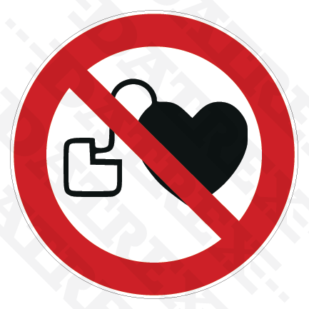 P007 No access for people with active implanted cardiac devices